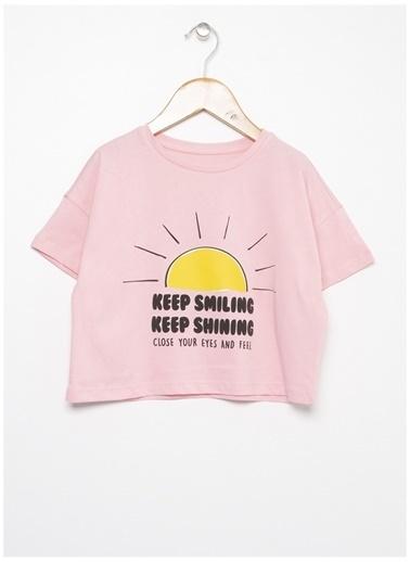 Limon Company Limon Pembe Kız Bisiklet Yaka Görssel Baskılı Çocuk T-Shirt Pembe